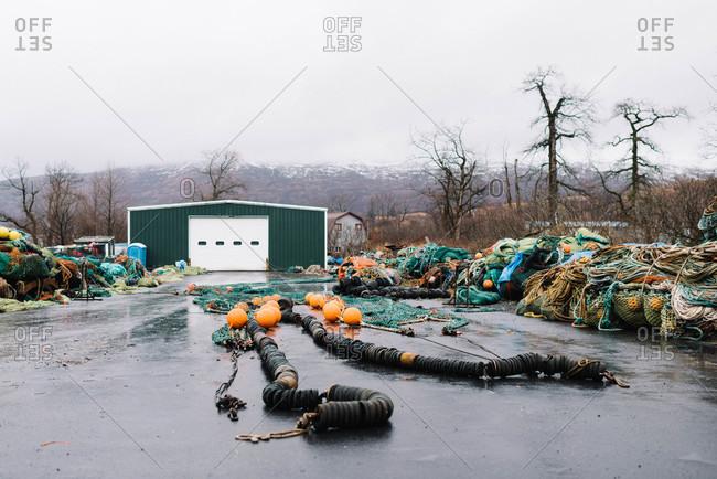 Fishing nets stored at a boat yard