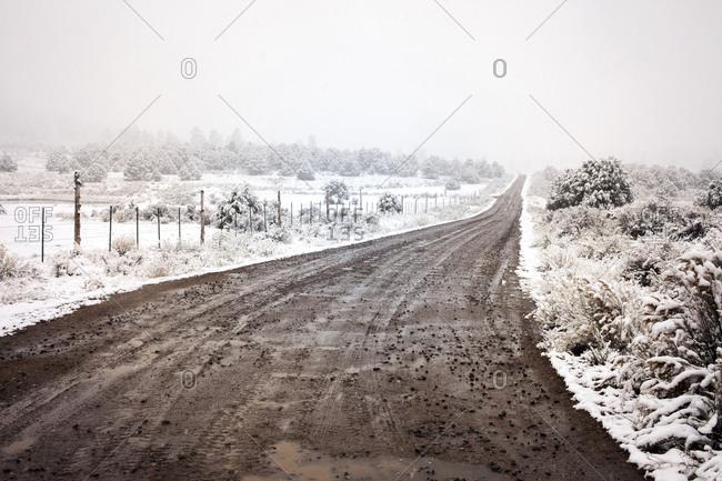 Dirt road in a snowy landscape