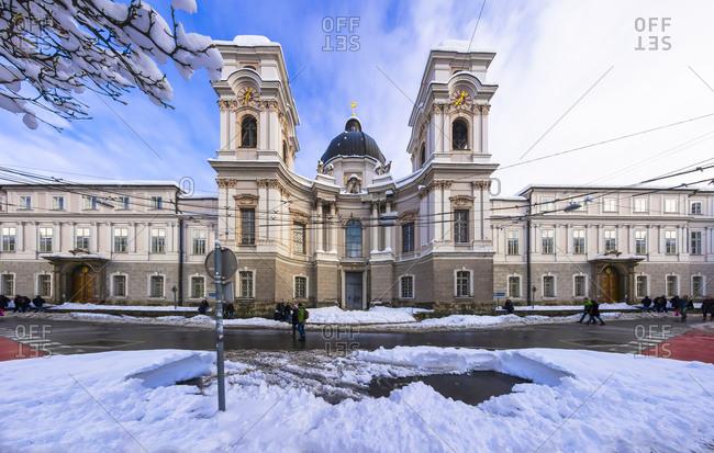 Salzburg, Austria - January 1, 2015: Trinity Church in winter, Salzburg