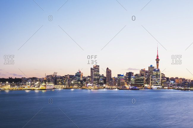 Auckland, New Zealand - May 29, 2015: Skyline with Sky Tower, Auckland