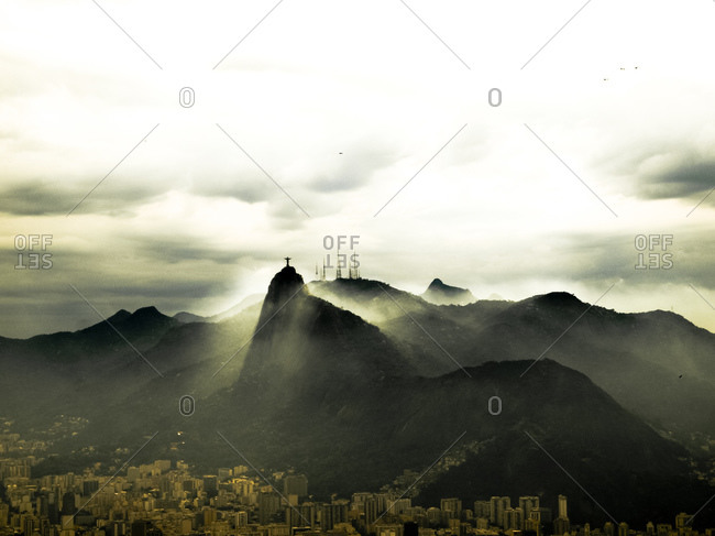 Rio de Janeiro, Brazil - May 26, 2015: View from Sugarloaf Mountain to Corcovado with statue of Christ, Rio de Janeiro