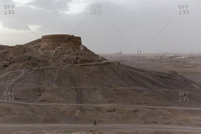 Iran - February 13, 2015: The ancient Zoroastrian 'Towers of Silence' near Yazd