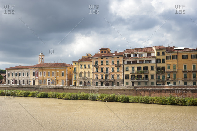 Buildings along the Arno River in Pisa, Italy