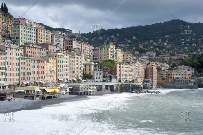 Pastel oceanfront buildings in Camogli, Italy