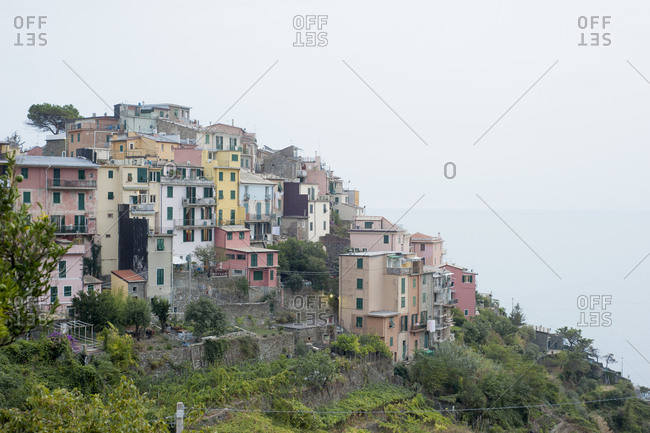 Homes on steep hillsides in Corniglia, Italy