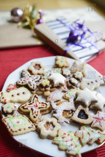 Christmas homemade gingerbread cookies in plate