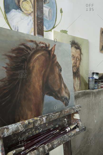 Painting of horse in art studio