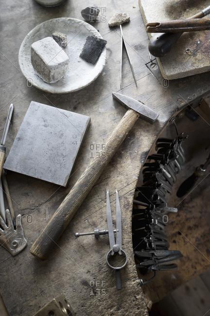 Work tools on workbench in workshop