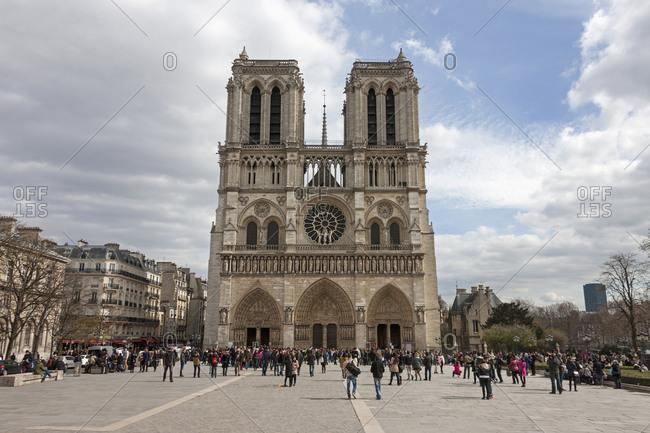 Paris, France - March 27, 2015: Facade of Notre Dame Cathedral, Paris