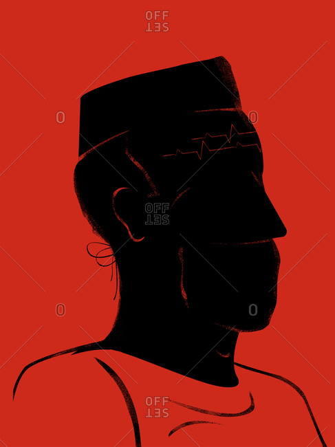 Doctor with electrocardiogram wrinkles - Offset