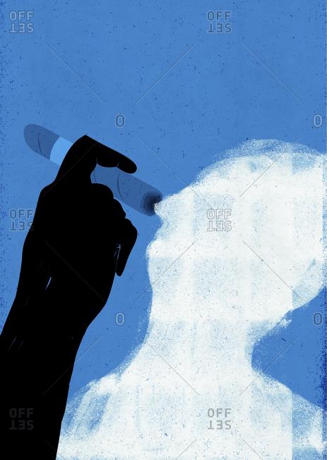 Cigar smoke in form of man
