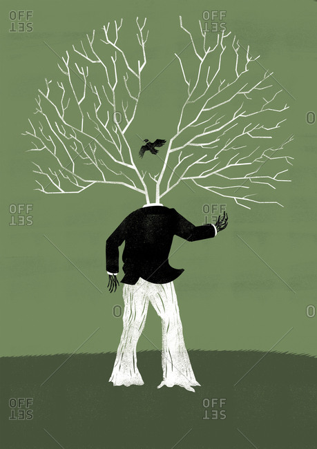 A tree man with bird among branches