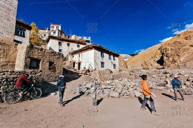 Kid playing in Indian Himalayas village