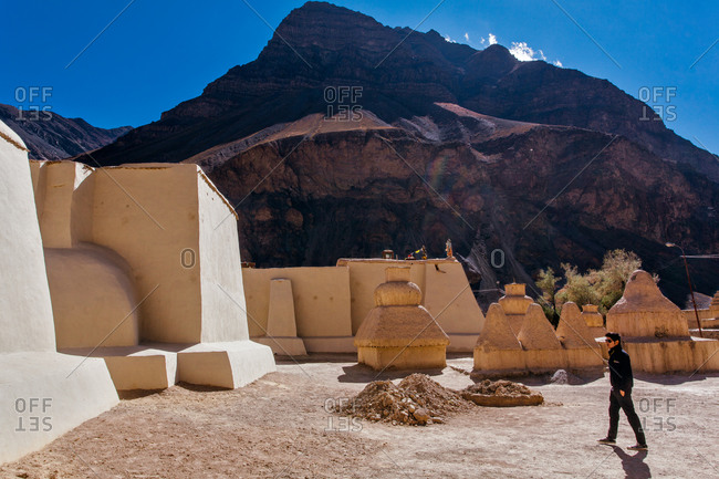 Man exploring Tabo Monastery, Indian Himalayas