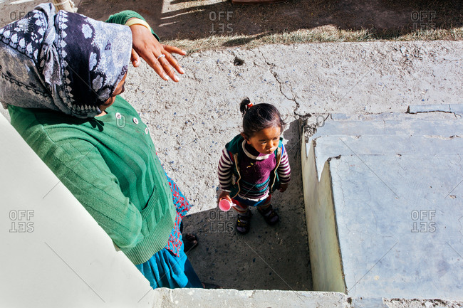 Woman and girl in Kibber village, India