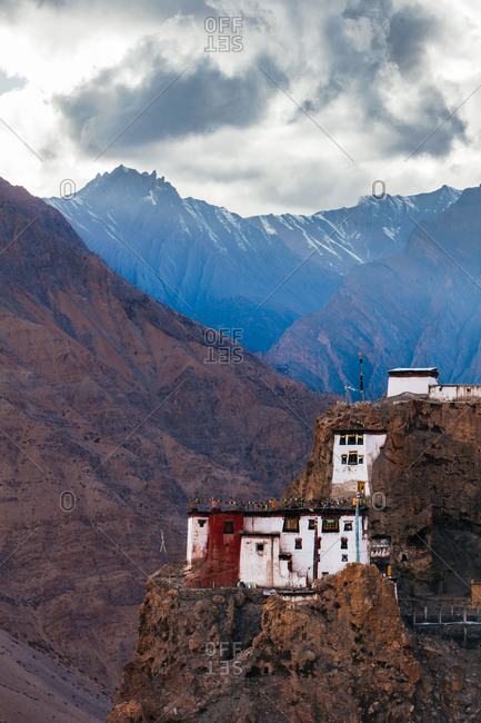 Buddhist monastery on mountain cliff in India