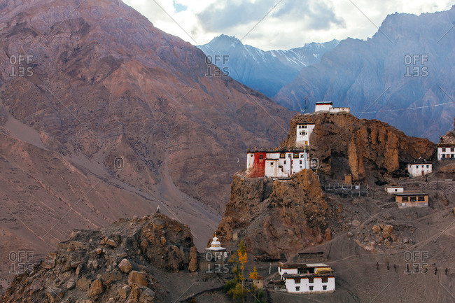 Old buddhist monastery on mountain cliff in India