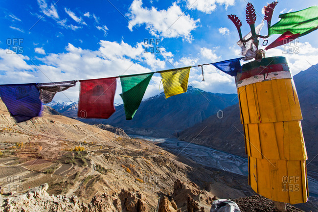 Tibetan flags over monastery in India