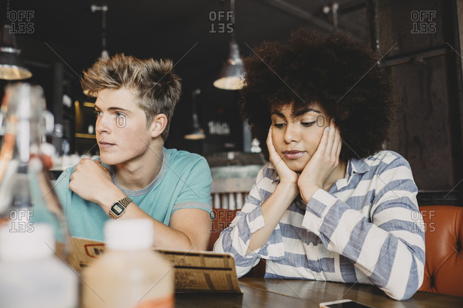 Couple sitting in a restaurant