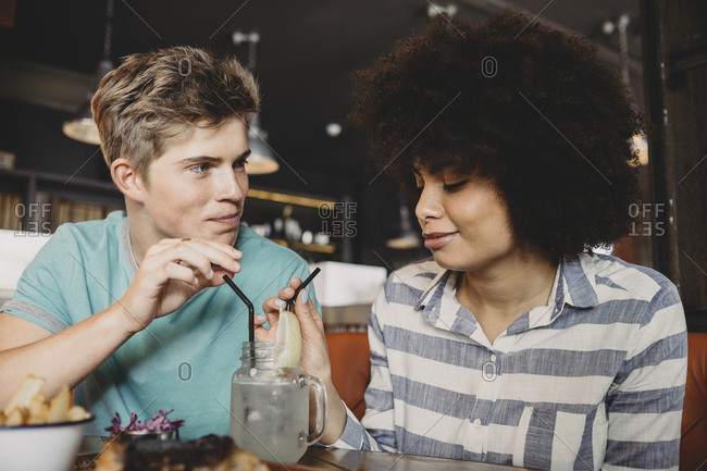 Couple drinking in a restaurant