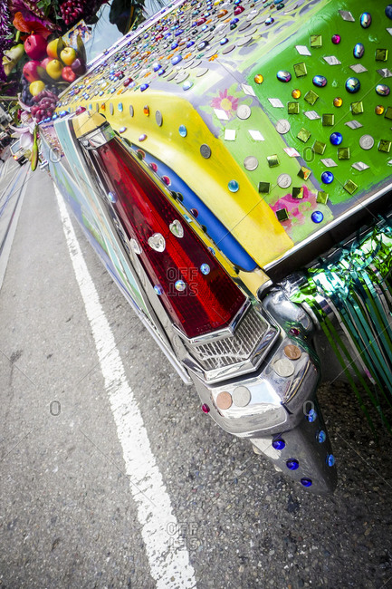 Close up of an art car near Union Square in San Francisco, California