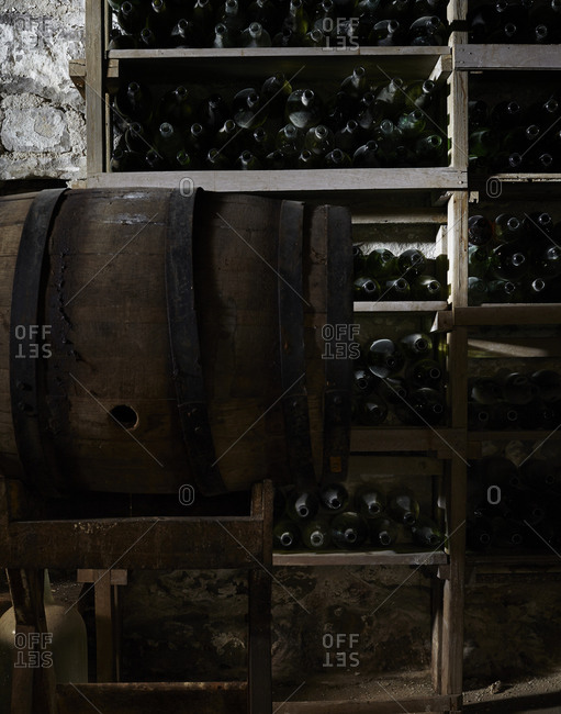 Empty wine bottles and a wine barrels