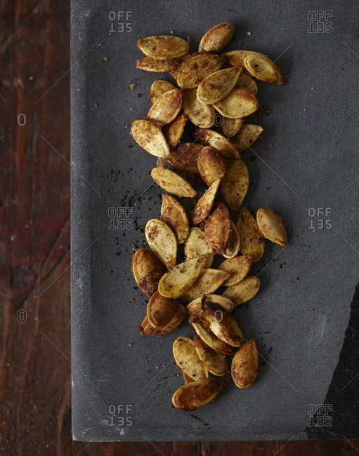 Baked and seasoned pumpkin seeds