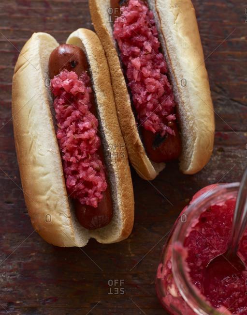Hot dogs with radish relish