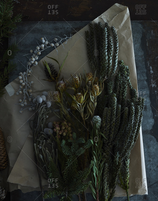 Dried plants for making a wreath
