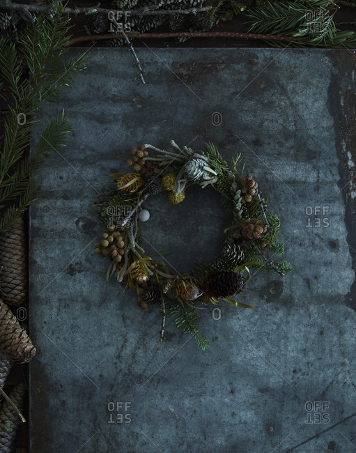A completed homemade wreath