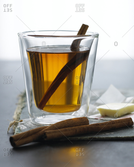 A glass of hot buttered rum