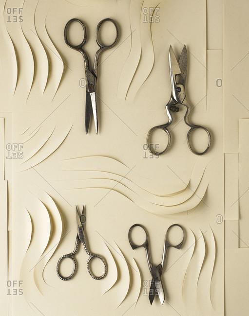 Cut paper and antique scissors