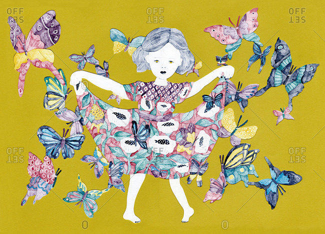 Young girl in dress curtseying with butterflies on yellow background