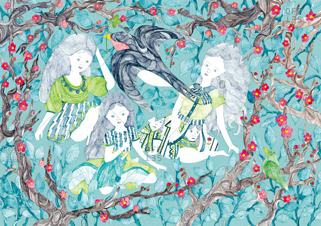 Three long-haired girls sitting under cherry blossom trees as bird with four-leaf clover flies in foreground