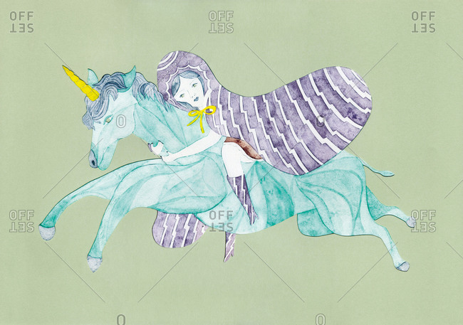 Girl in hooded cloak riding a unicorn