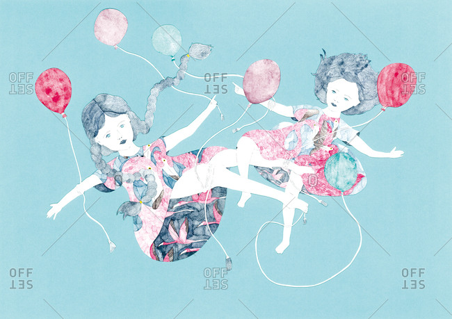 Two girls in flamingo patterned dresses floating with balloons on blue background