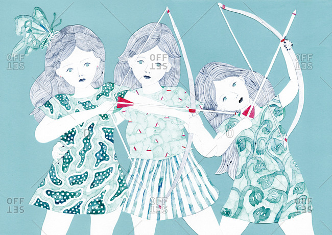 Three girls with bows and arrows and a butterfly