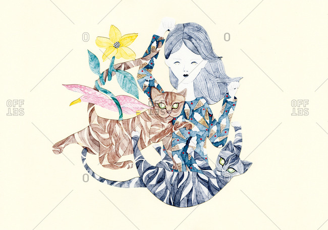 Woman with two striped cats and a pink bird