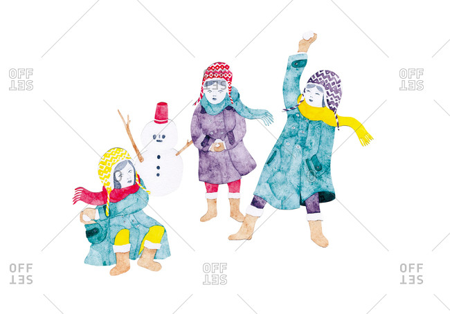 Three bundled up children play in snow with a snowman