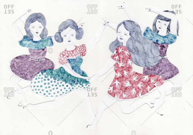 Four girls dancing together