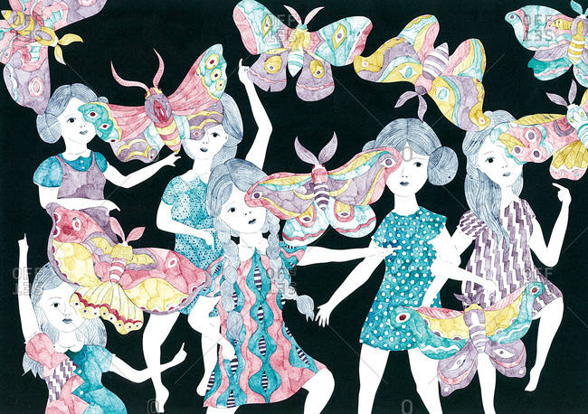 Six girls dance with flying moths