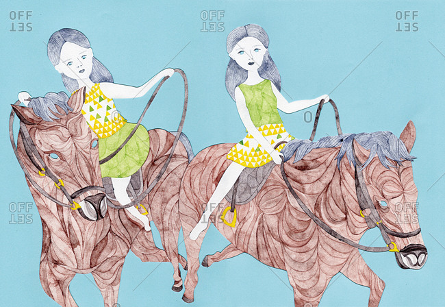 Two women riding horses