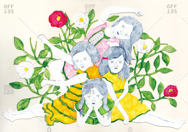 Four girls pose among flowers