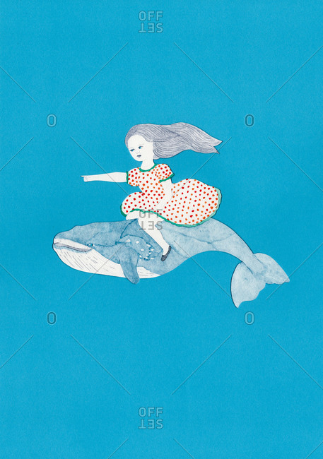 Girl in dotted dress riding a blue whale