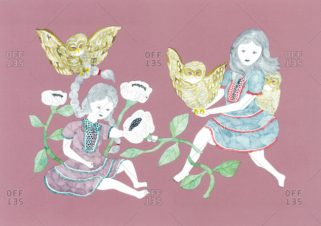 Two girls with owls and white flowers