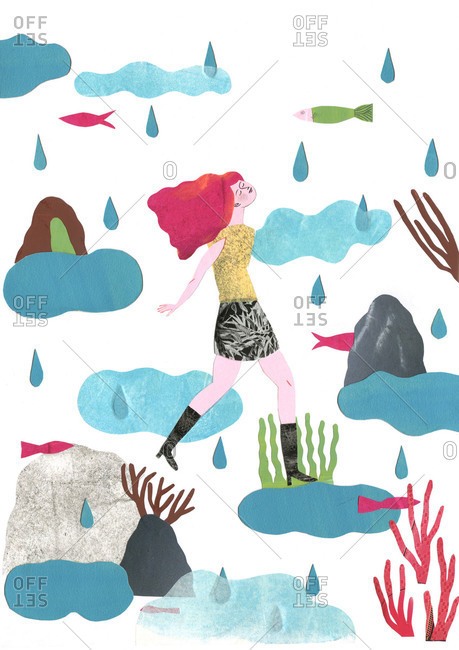 Woman walking in rain among fish