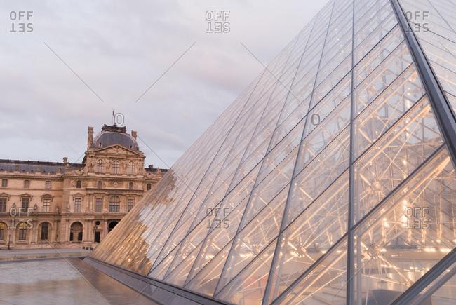 Paris, France - June 29, 2008: The Louvre Museum and pyramid, Paris, France