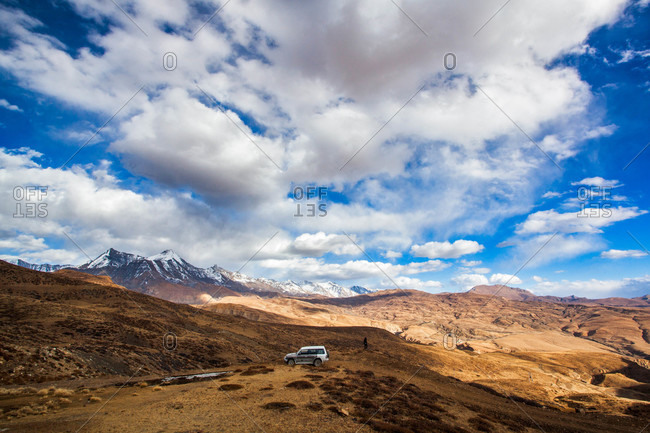 Himachal Pradesh, India - October 18, 2013: Car parked near Tashi Gang in Himachal Pradesh, India