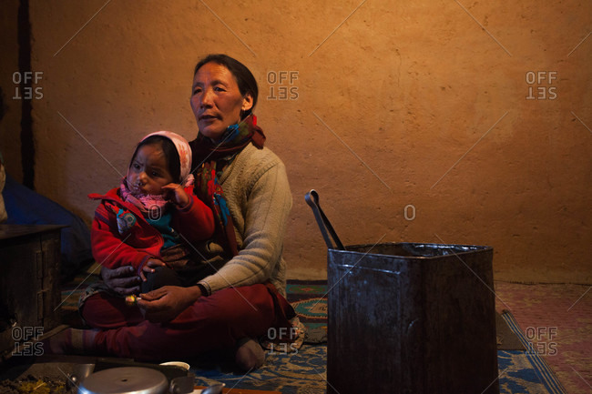 Himachal Pradesh, India - October 19, 2013: Mother with her daughter in Spiti, Himachal Pradesh, India