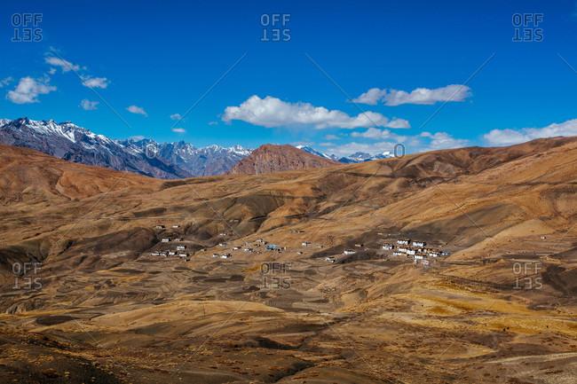 Hikkim village in Himachal Pradesh, India